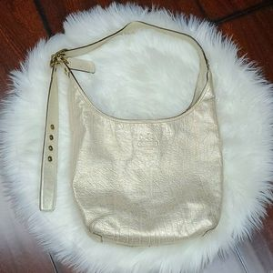 Coach Matallic Champagne Gold Leather Hobo Purse